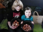 Annie and friend with egg hoard!