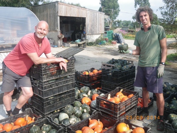 Thanks Simon and Alex for heaving those heavy squash crates...lets eat them now!